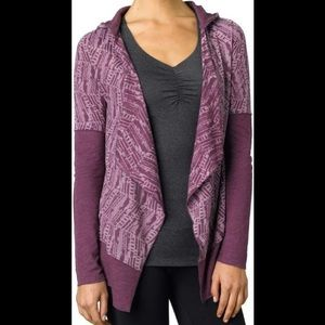 PrAna Graceful Wrap Open Front Cardigan with Hood